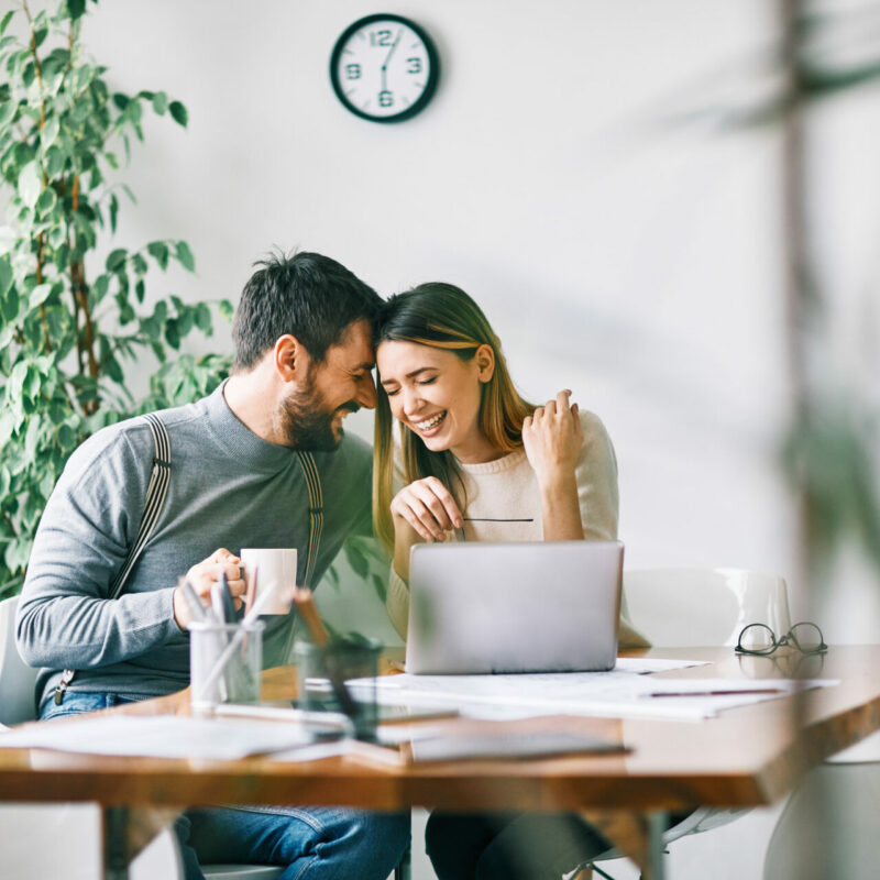 Smiling couple working at home or in teh office with laptop